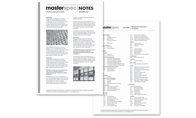 Masterspec Design Projects Notes